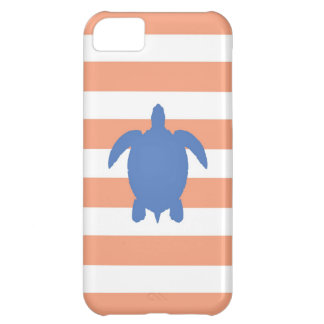 Nautical Blue Sea Turtle & Coral and White Stripes iPhone 5C Case