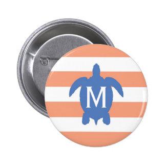 Nautical Blue Sea Turtle & Coral Stripes Monogram 6 Cm Round Badge