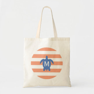 Nautical Blue Sea Turtle & Coral Stripes Monogram Tote Bag