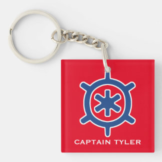 Nautical Blue Ship Captain's Helm Wheel Custom Single-Sided Square Acrylic Key Ring