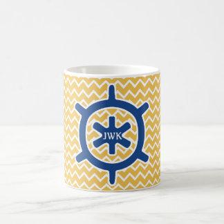 Nautical Blue Ship's Wheel Monogram and Chevron Basic White Mug