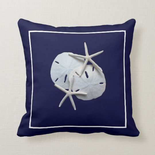 Nautical Blue Starfish Sand Dollar Throw Pillow