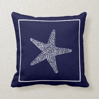 Nautical Blue Starfish Throw Pillow CBendel Design