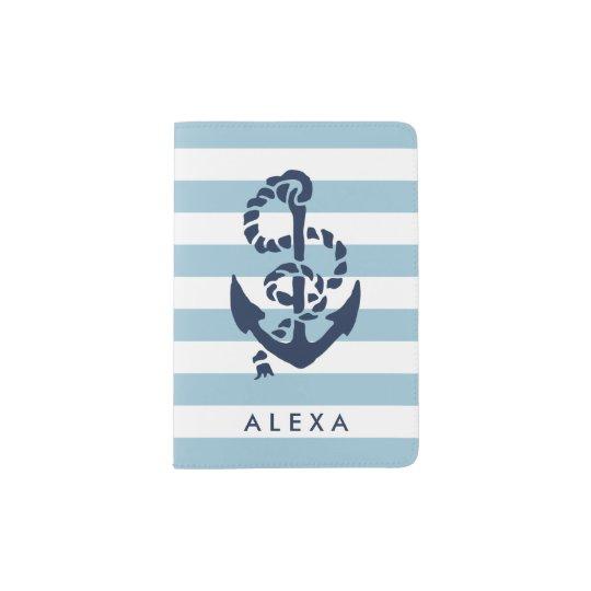 Nautical Blue Stripe & Navy Anchor Personalised Passport