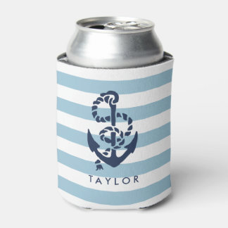 Nautical Blue Stripe & Navy Anchor Personalized