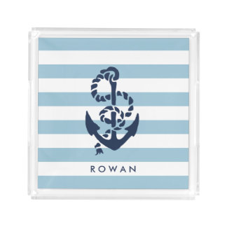 Nautical Blue Stripe & Navy Anchor Personalized Acrylic Tray