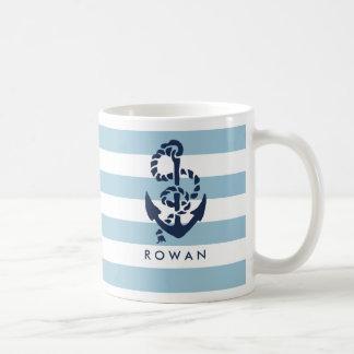Nautical Blue Stripe & Navy Anchor Personalized Basic White Mug