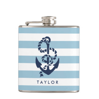 Nautical Blue Stripe & Navy Anchor Personalized Hip Flask