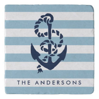 Nautical Blue Stripe & Navy Anchor Personalized Trivet