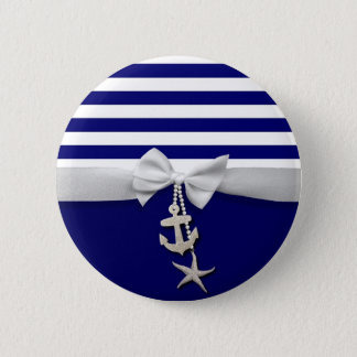 Nautical blue stripe white ribbon & charms graphic 6 cm round badge