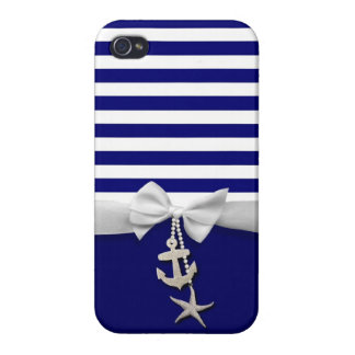 Nautical blue stripe white ribbon & charms graphic case for the iPhone 4