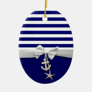 Nautical blue stripe white ribbon & charms graphic ceramic oval decoration