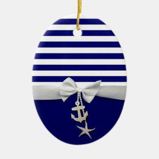 Nautical blue stripe white ribbon & charms graphic christmas ornament