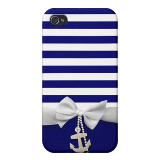 Nautical blue stripe white ribbon & charms graphic cover for iPhone 4