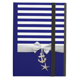 Nautical blue stripe white ribbon & charms graphic iPad air cover