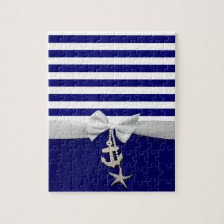 Nautical blue stripe white ribbon & charms graphic jigsaw puzzles