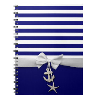 Nautical blue stripe white ribbon & charms graphic notebook