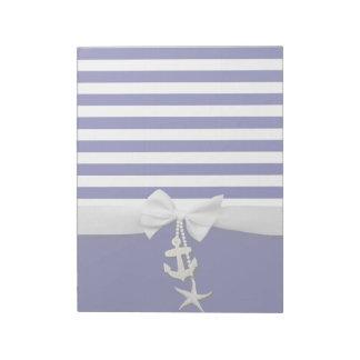 Nautical blue stripe white ribbon & charms graphic notepad