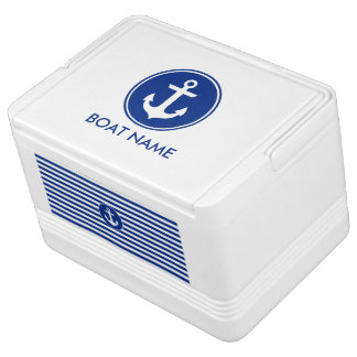 Nautical Blue Striped Boat Name Anchor Cooler Igloo Cooler