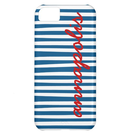 Nautical Blue Stripes - Annapolis iPhone 5C Covers