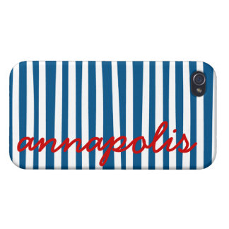 Nautical Blue Stripes - Annapolis iPhone 4 Cases