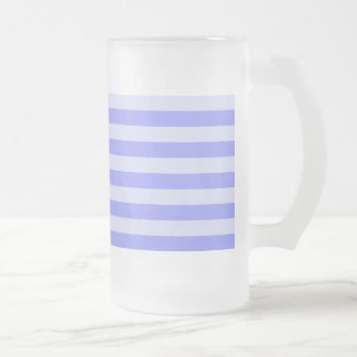Nautical Blue Stripes 16 Oz Frosted Glass Beer Mug