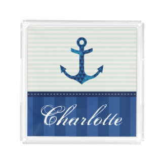 Nautical Blue Stripes Pattern Anchor Custom Name Acrylic Tray