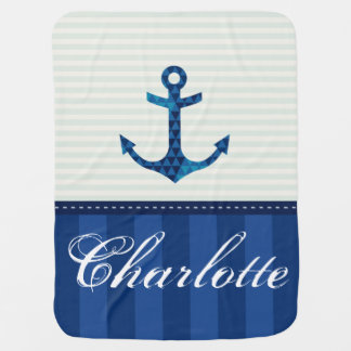 Nautical Blue Stripes Pattern Anchor Custom Name Baby Blanket