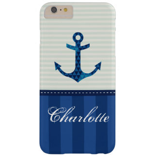 Nautical Blue Stripes Pattern Anchor Custom Name Barely There iPhone 6 Plus Case