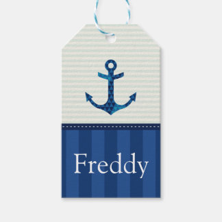 Nautical Blue Stripes Pattern Anchor Custom Name Gift Tags