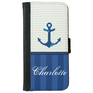 Nautical Blue Stripes Pattern Anchor Custom Name iPhone 6 Wallet Case