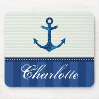 Nautical Blue Stripes Pattern Anchor Custom Name Mouse Mat