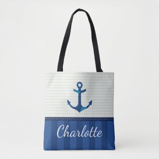 Nautical Blue Stripes Pattern Anchor Custom Name Tote