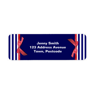 Nautical blue stripes & red ribbon bow graphic
