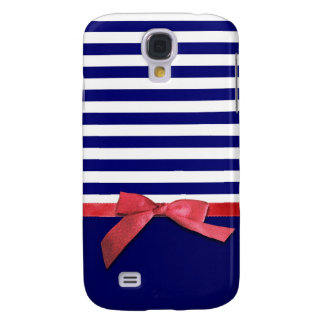 Nautical blue stripes & red ribbon bow graphic galaxy s4 case