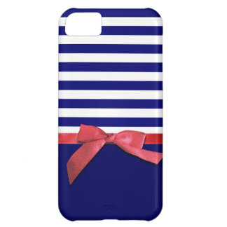 Nautical blue stripes & red ribbon bow graphic iPhone 5C case