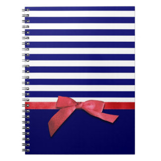 Nautical blue stripes & red ribbon bow graphic notebook