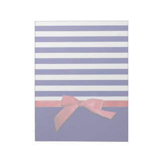 Nautical blue stripes & red ribbon bow graphic notepad