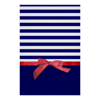 Nautical blue stripes & red ribbon bow graphic poster