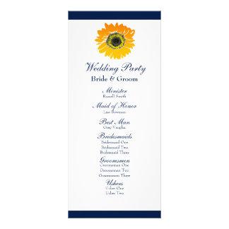 Nautical Blue Stripes Sunflower Wedding Program Rack Card