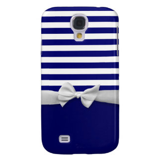 Nautical blue stripes & white ribbon bow graphic galaxy s4 case
