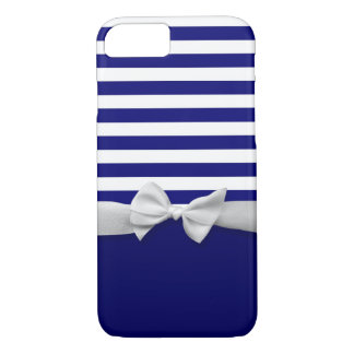 Nautical blue stripes & white ribbon bow graphic iPhone 8/7 case