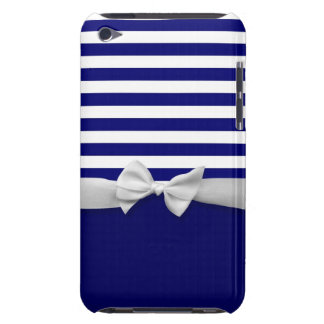 Nautical blue stripes & white ribbon bow graphic iPod touch Case-Mate case