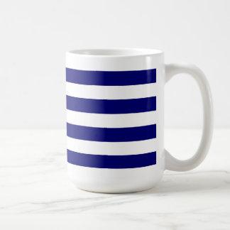 Nautical blue stripes & white ribbon bow graphic basic white mug