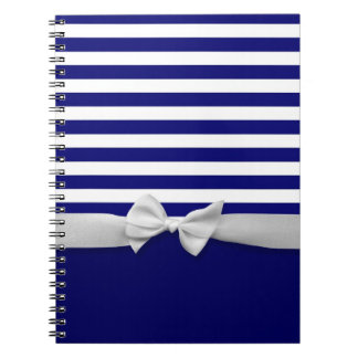 Nautical blue stripes & white ribbon bow graphic notebook