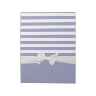 Nautical blue stripes & white ribbon bow graphic notepad