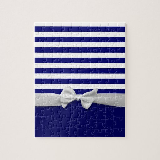 Nautical blue stripes & white ribbon bow graphic puzzle