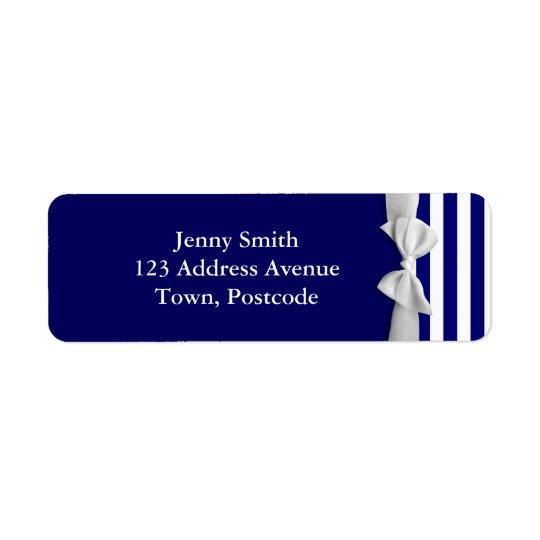 Nautical blue stripes & white ribbon bow graphic return address label