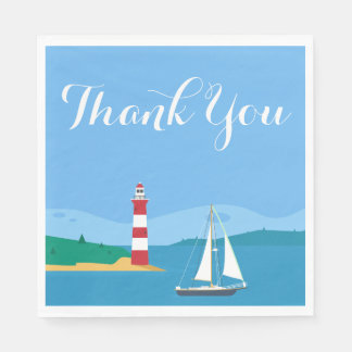 Nautical Blue Thank You Sailboat & Lighthouse Disposable Serviettes