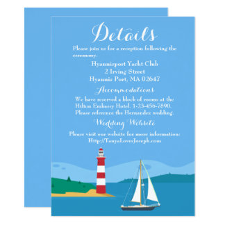 Nautical Blue Wedding Details Lighthouse Sailboat Card